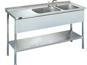 Lincat 1000mm long Sink Unit (Single Bowl - L/ Hand Drainer)